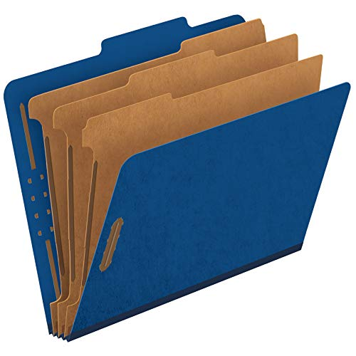 Colored Classification Folder - Globe-Weis Colored Classification Folders, 2/5 Cut Tab, 3 Dividers, Embedded Fasteners, Letter Size, Dark Blue, 10 Folders Per Box (24096)