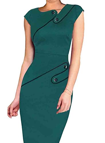 Colyanda Women's Vintage Wear To Work Cap Sleeve Business Pencil Sheath Dress