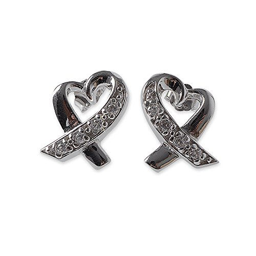 Awareness Ribbon Sterling Silver Earrings - .925 Sterling Silver Awareness Heart / Love Ribbon Bow Stud Earrings