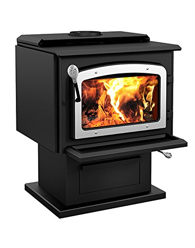 Drolet Wood Stove On Pedestal Model Escape 1800 - Nickel Door DB03111 - Pedestal Wood Stove