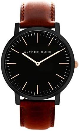 Alfred Sung Watch, Ultra Slim Mens, 41mm Black Case