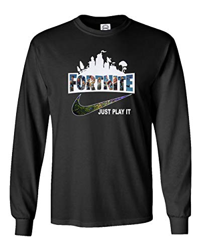 SMARTZONE Just Play It Boys Girls Youth Long Sleeve T-Shirt (Black, Youth X-Large) (Medium T-shirt Youth Only)