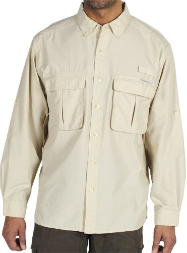Exofficio Mens Air (ExOfficio Men's Air Strip Lite Long Sleeve, Bone, Medium)