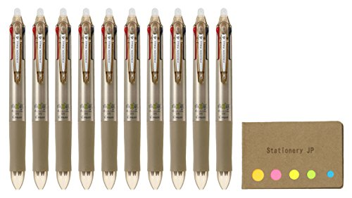 Pilot Frixion Ball 4 Click Retractable 4 Color Gel Ink Erasable Murti Pens, 0.5mm, Champagne Gold Body, 10-pack, Sticky Notes Value Set by Stationery JP (Image #2)