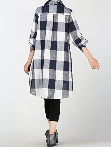 Court Vogstyle Chemise Haut Longue Carreaux Blouse Femme Manche Casuel Robe Long Chic Noir zzHrqSw