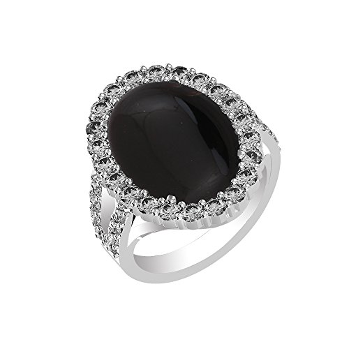 (10.15ct, Genuine Black Onyx Oval & .925 Silver Overlay Cocktail Solitaire Ring Size-11)