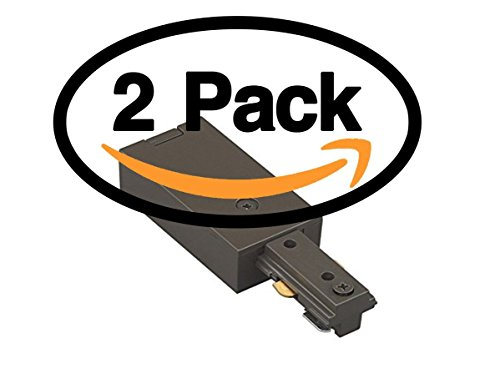(2 Pack) Dark Bronze Live End Feed Track Light Connector WAC Lighting HLE-DB H TrackLight Fixtures