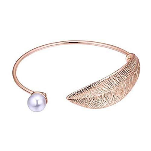 (TOPOB Women's Fashion Bracelet, Personality Leaf Shape Open Chain Decorated with Pearls Bangle (Rose Gold))
