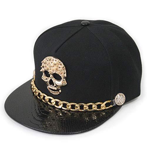 02270ecbf07 Amazon.com  MAGA 1 Snapback Caps Punk Hip Hop Cap Golden Skull Rivet Logo  PU Leather Visor Baseball Cap Adjustable Hats for Men Women Gorras Planas   Kitchen ...