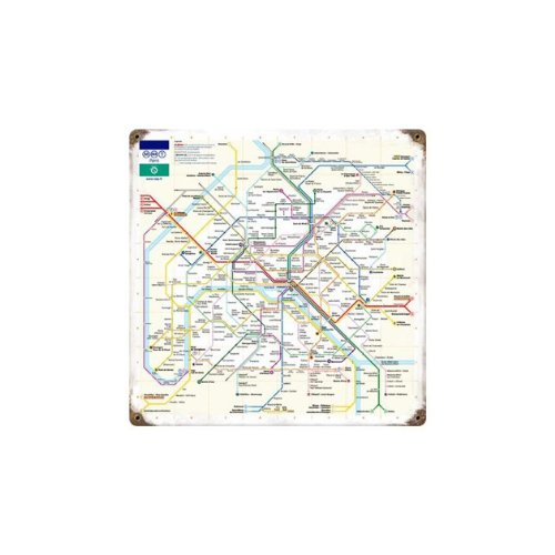 Paris Metro Vintage Metal Sign France Transit Map 12 X 12 Steel Not (Metro Sign)