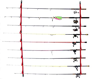 "Overhead or Wall Fishing Rod Rack, Rod Storage System suspends your rods in soft webbing loops protecting your equipment's finish. The 72""version has 9 positions 46""has 6. Hardware included from Campingabdkayaking"