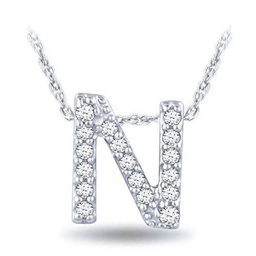 0.05 cttw Diamond N Initial Pendant Necklace In 10k White Gold 18