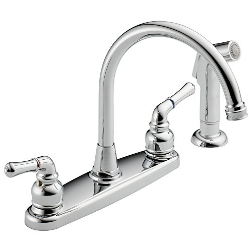 (Westbrass Water Dispenser Hi-Arc 2-Handle Side Sprayer Kitchen Faucet, Polished Chrome, WAS01-26)