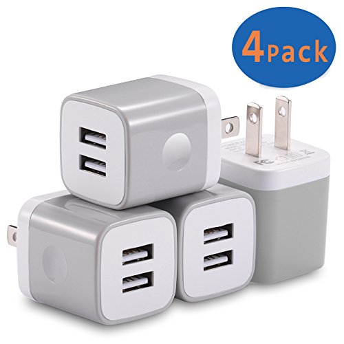 USB Wall Charger, X-EDITION 4-Pack 10.5W/2.1A Universal 2-Port USB Wall Plug Power Adapter for iPhone X, 8/8 Plus 7/7 Plus, 6/6 Plus 6S, iPad, Samsung Galaxy S5 S6 S7 Edge, Nexus, LG, HTC (Gray) (Moto G Speaker)