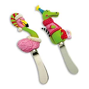 Francis & Ally Northern Light Alligator Flamingo Party Cheese Dip Spreaders - Set of 2 by Cypress Home