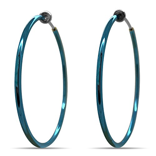 (Silver Spring Hoops Earrings Clip On-Small, Medium & Large Silver Clip Hoop Earrings for Women (Blue XL))