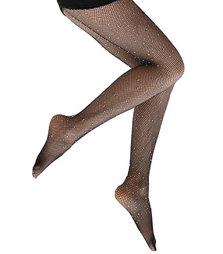 Fishnet Stockings Womens Sparkle Rhinestone High Waist Fishnet Tights Fit S-XXL