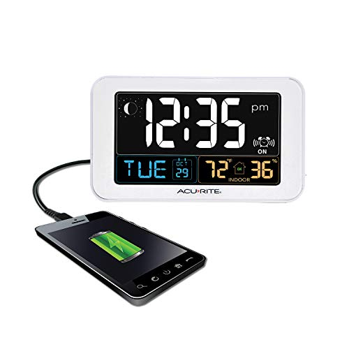 AcuRite Intelli-Time Alarm Clock with USB Charger