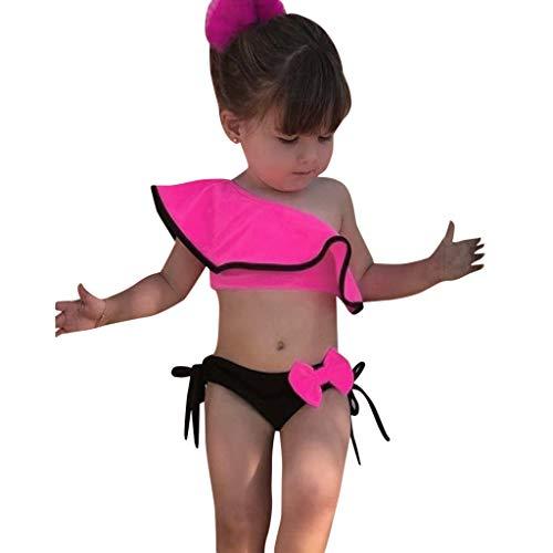 Mitiy Summer Baby Girls Solid Print Ruffles Bow Swimwear Swimsuit Bikini Kids Outfits