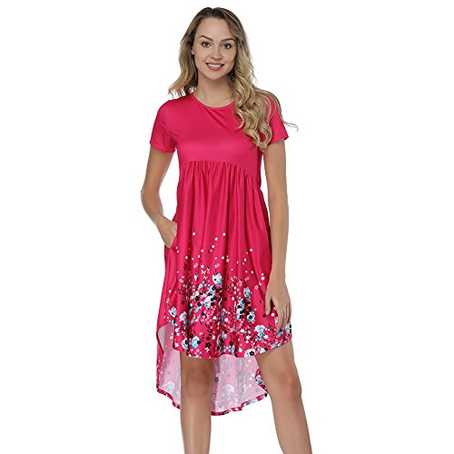Womens Simple Solid Round Neck Pleated Pockets Casual Shift Dress