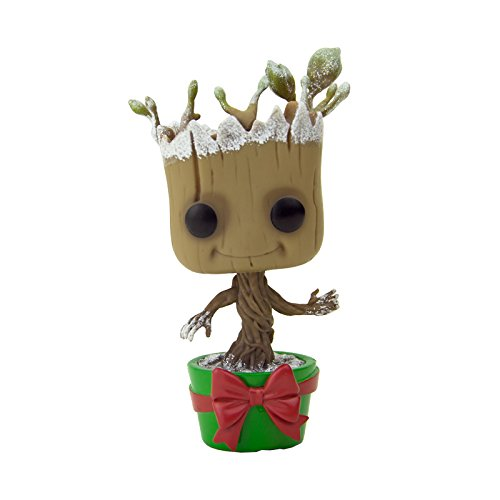 Funko 7256 – Guardianes de la Galaxia, Pop Vinyl Figure 101 Snowy Metallic Holiday Dancing Groot, 10 cm