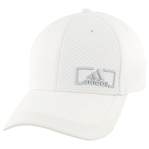 Custom Fit Stretch Hat - adidas Men's Amplifier Stretch Fit Structured Cap, White/Clear Grey, Large/X-Large
