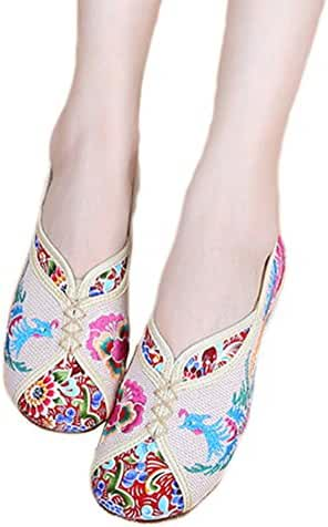 AvaCostume Traditional Phoenix Embroidery Wedge Heel Oxfords Sole Shoes