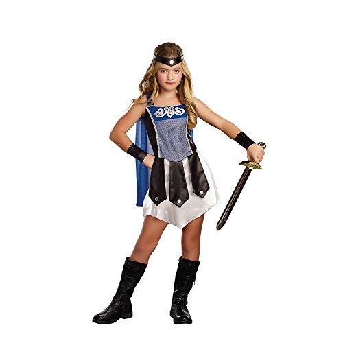 Dream Girl Girl's 9957 3 PC Gladiator Girl Costumes,BLUE/BLACK/WHITE,M (Warrior Girl Costume)
