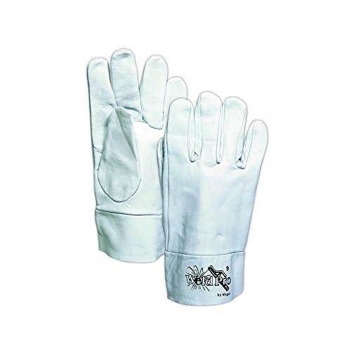 Magid Glove & Safety 1290B-8 Magid WeldPro 1290B Goatskin Glove with 2 Leather Cuff, 7, Gray , 8 (Pack of 12) by Magid Glove & Safety