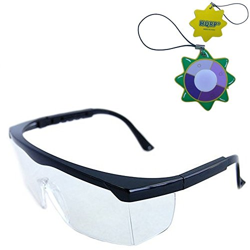 HQRP Clear Tint UV Protective Safety Goggles/Glasses for Yard work, Gardening, Lawn mowing, Weed whacking, Hedge trimming + HQRP UV Meter