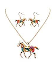 Colorful Enameled Horse Charm Pendant Necklace and Drop Earrings Animal Jewelry Set