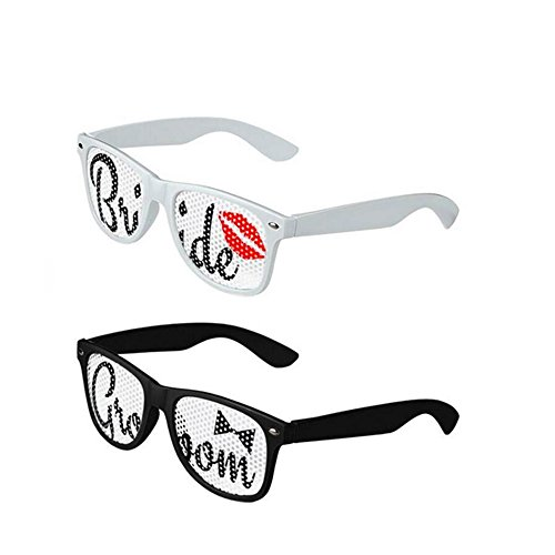 Youth Union Bride and Groom Sunglasses Set - Wedding Supplies Favors Props Party Decorations - Bride Groom Sunglasses