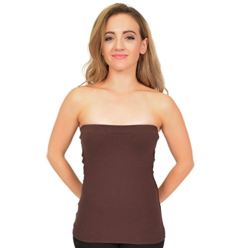 Stretch is Comfort Women's Cotton Strapless Tube Top Brown 2X
