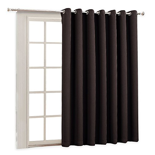 RYB HOME Vertical Blinds for Patio Door Indoor Curtains for Gazebo Patio Window, Wide Width Drape Panel for Living Room/Office/Slider Glass Door, Wide 100 inch by Long 84 inch, Toffee Brown