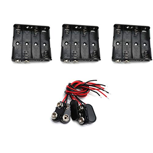 Yohii AA Battery Holder 4 x 1.5V with 9V I Type Snap Connectors - Pack of - Snap F-type