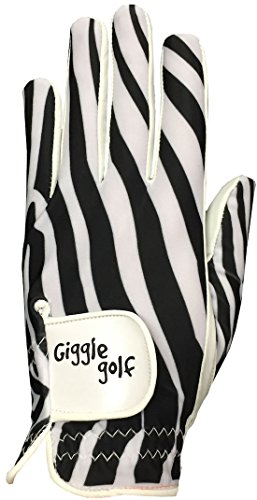 Golf Print Gloves - Giggle Golf - Women's Zebra Golf Glove (Medium, Worn On Left Hand)