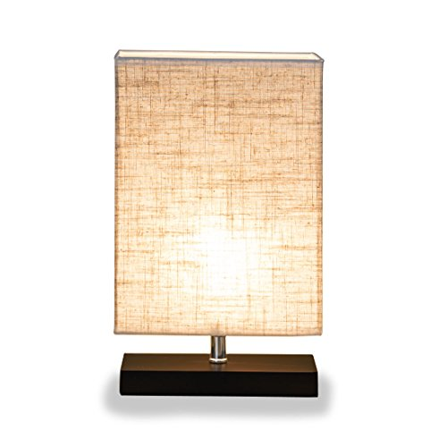ZEEFO Wood Table Lamp, Retro Solid Wood and Fabric Shade Relax Lighting For Bedroom Bedside Desk Lamp, Contemporary Living Room, Study , Cafe , Baby Room (Rectangle) (Wood Contemporary Table Lamp)