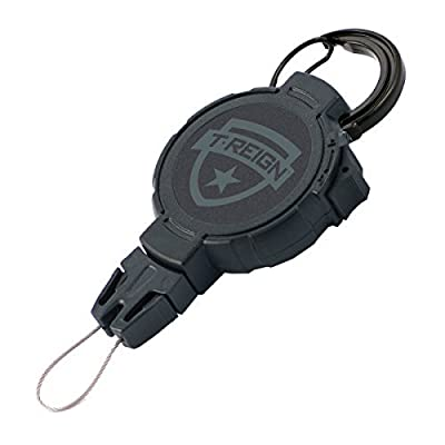 """T-REIGN Small Golf Gear Retractor with Carabiner & Kevlar Cord (24"""" 4oz ). for Brushes, Towels, Tools & More!, Black"""
