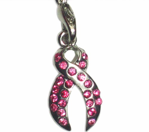 Pink Ribbon Cell Phone Charm - Pink Ribbon Cell Phone Charm with Genuine Swarovski Crystal Elements