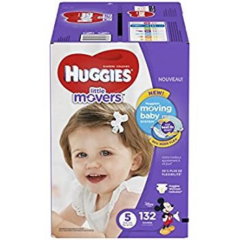 HUGGIES Little Movers Diapers, Size 5, For over 27 lbs., Box of 132 Baby Diapers for Active Babies, Packaging May Vary