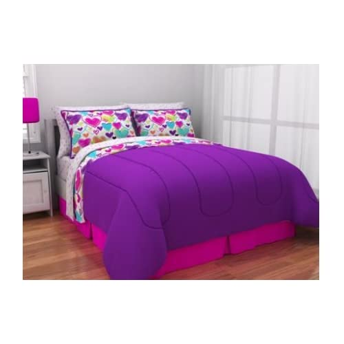 New Latitude Teen Reversible Bright Pink, Purple, White Hearts Bedding Queen Comforter for Girls (5 Piece in a Bag) supplier
