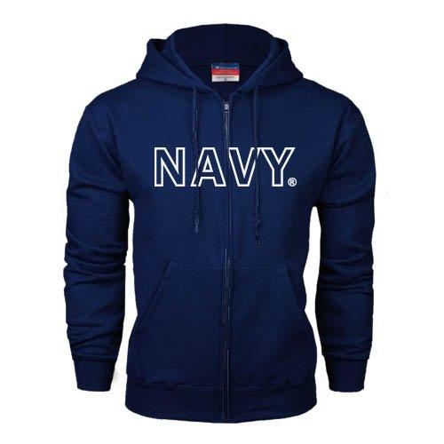 CollegeFanGear Navy Navy Fleece Full Zip Hoodie Block Navy