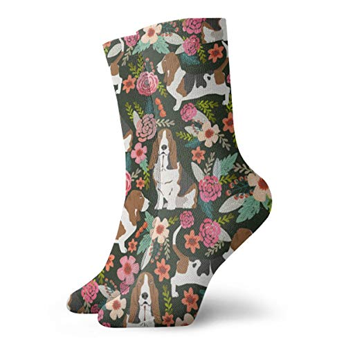 Womens Basset Hound Dog Floral Art Printed Funny Novelty Casual Socks