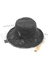 ZSAIMD Chica y mujeres de algodón bordado de la letra del sombrero del cubo del sombrero sombrero de pescador recorrido al aire libre plegable de Sun Gorra retro del sombrero del cubo del sombrero del