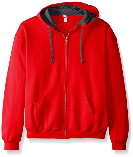 Fruit of the Loom Men's Full-Zip Hooded Sweatshirt, Fiery Red, XXX-Large ()