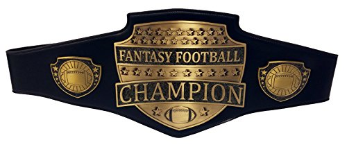 Fantasy Football Champion Belt - Gold FFL Genuine Black Leather Championship Award Belt - Wall Hanger and Custom Case Included - Be The Envy Of Your League! by Decade Awards