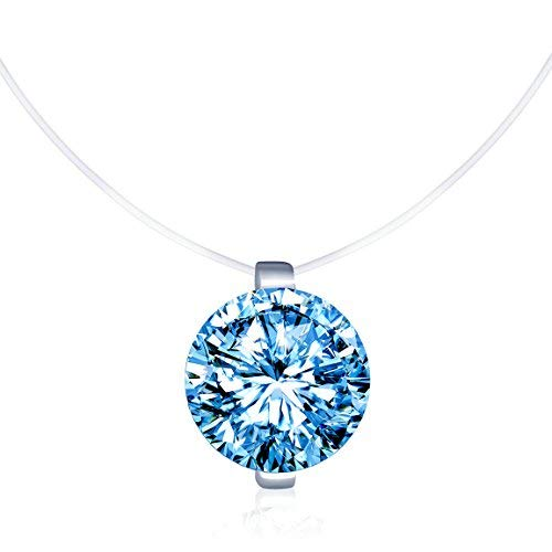 Infinite U Solitaire Pendant 925 Sterling Silver Blue Cubic Zirconia CZ with Transparent Chain Necklace for Women 16""