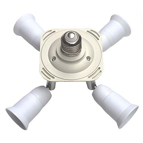 Toplimit Free Swing 4 Port E26 Light Bulb Lamp Socket Adapte