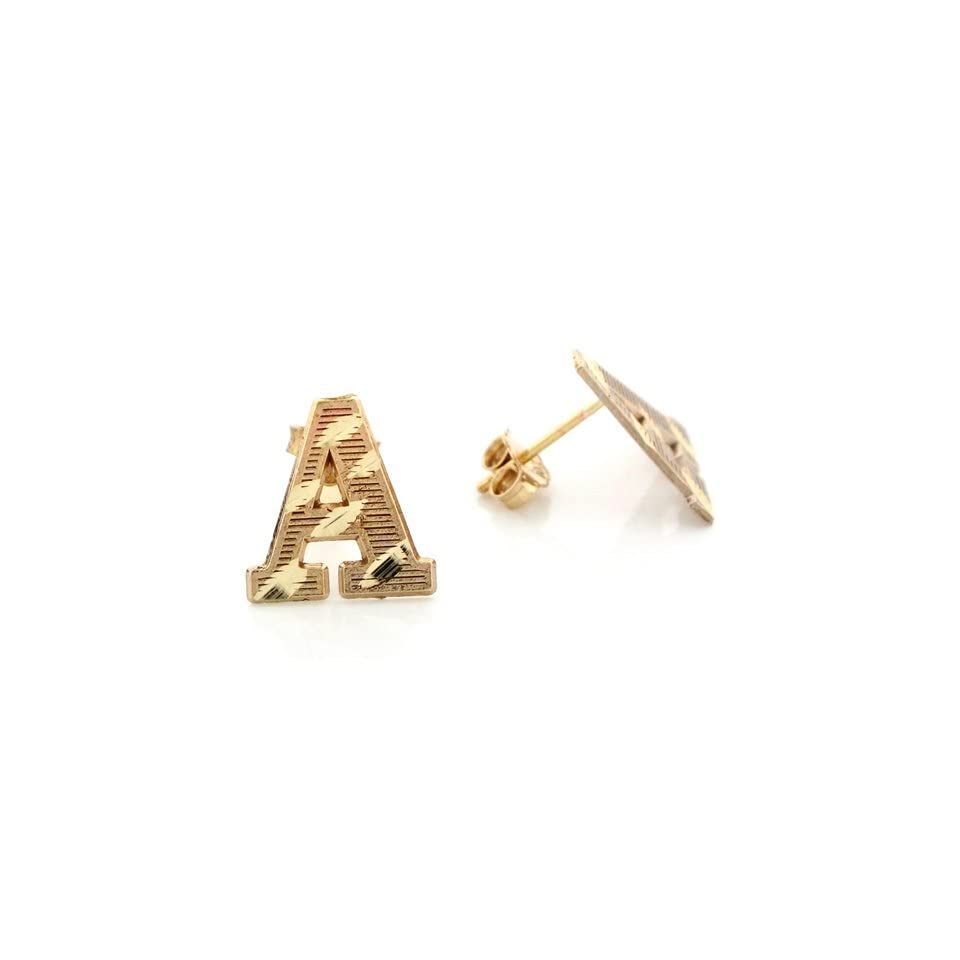 14k Real Yellow Gold Diamond Cut Letter A Initial Unisex Post Earring