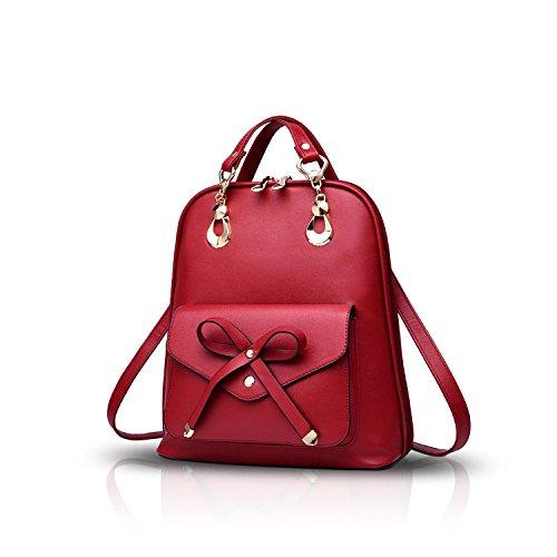 Rmdz Mujer Moda Colegio Universidad Viajar Al aire libre Bolso Chicas Mochila Hombro PU Vino Rojo Bowknot